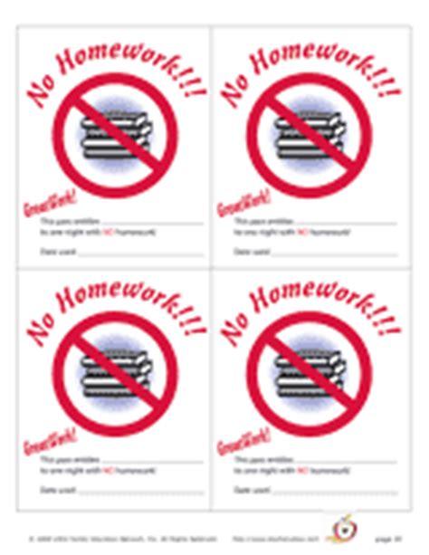 free printable homework pass
